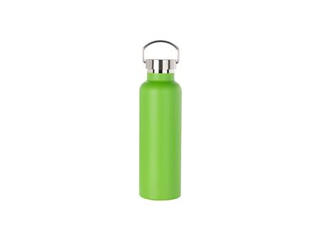 750ml/25oz Portable Bamboo Lid Powder Coated Stainless Steel Bottle (Green)