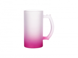 16oz Sublimation Glass Beer Mug Gradient Pink