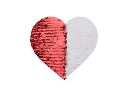 19*22cm Flip Sequins Adhesive White Base (Heart, Red W/ White)