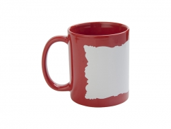 11oz Full Colour Mug w/ White Patch(Red,Butterfly Shaped)