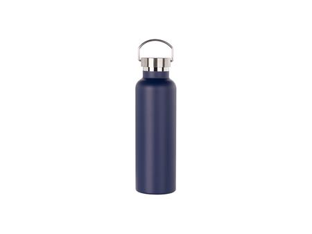 750ml/25oz Portable Bamboo Lid Powder Coated Stainless Steel Bottle (Dark Blue)