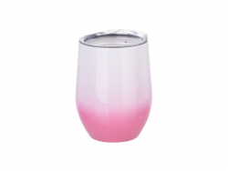 12oz/360ml Stainless Steel Stemless Cup w/ Lid (Gradient Color White & Pink)