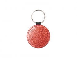 Glitter PU Leather Key Chain (Round, Red)