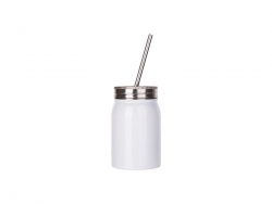 17oz/500ml Sublimation Stainless Steel Mason Tumbler with Straw (White)