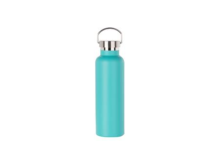 750ml/25oz Portable Bamboo Lid Powder Coated Stainless Steel Bottle (Mint Green)