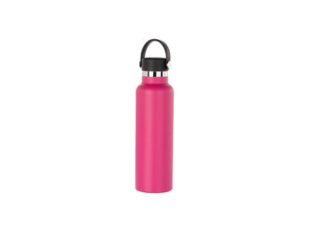 600ml/20oz Portable Bamboo Lid Powder Coated Stainless Steel Bottle (Purple Red)