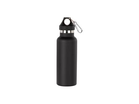 500ml/17oz Portable Bamboo Lid Powder Coated Stainless Steel Bottle (Black)
