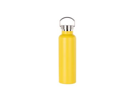 750ml/25oz Portable Bamboo Lid Powder Coated Stainless Steel Bottle (Yellow)