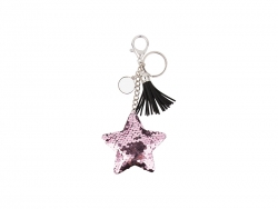 Sequin Keychain w/ Tassel and Insert (Pink Star)