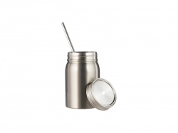17oz/500ml Sublimation Stainless Steel Mason Tumbler with Straw (Silver)