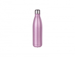 17oz/500ml Glitter Stainless Steel Cola Shaped Bottle (Pink)