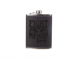 8oz Stainless Steel Flask with PU Cover (Black)