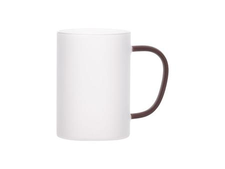 12oz/360ml Glass Mug w/ Red Handle(Frosted)
