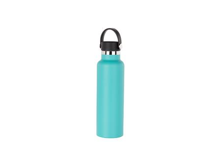 600ml/20oz Portable Bamboo Lid Powder Coated Stainless Steel Bottle (Mint Green)