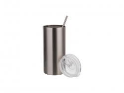 16oz/480ml Stainless Steel Skinny Tumbler with Straw & Lid (Silver)