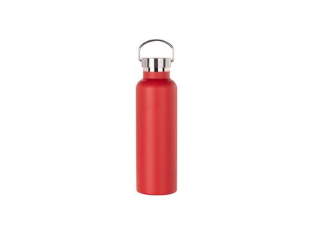 750ml/25oz Portable Bamboo Lid Powder Coated Stainless Steel Bottle (Red)