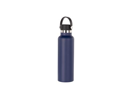 600ml/20oz Portable Bamboo Lid Powder Coated Stainless Steel Bottle (Dark Blue)