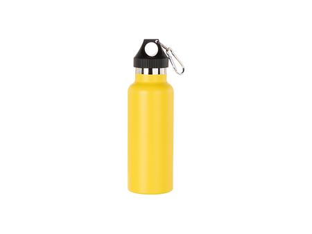 500ml/17oz Portable Bamboo Lid Powder Coated Stainless Steel Bottle (Yellow)