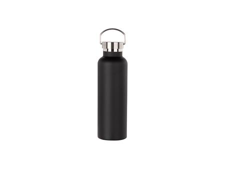 750ml/25oz Portable Bamboo Lid Powder Coated Stainless Steel Bottle (Black)