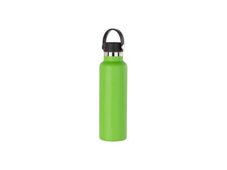 600ml/20oz Portable Bamboo Lid Powder Coated Stainless Steel Bottle (Green)