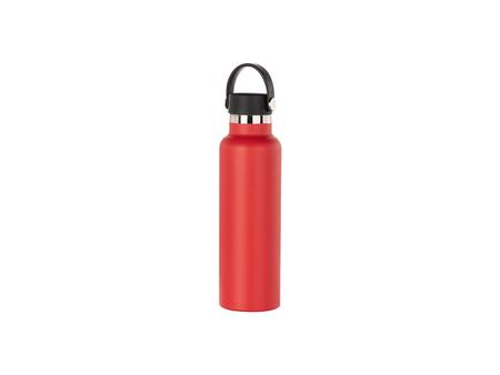 600ml/20oz Portable Bamboo Lid Powder Coated Stainless Steel Bottle (Red)