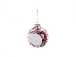 8cm Plastic Christmas Ball Ornament w/ Red String (Clear)